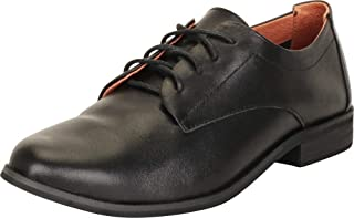 Cambridge Select Women's Genuine Leather Classic Lace-Up Low Block Heel Oxford
