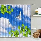 AETTP Blauer Himmel Weiße Wolken Grüne Blätter Blume Duschvorhang Taube Vogel Frühling Fotografie Hintergr& Badezimmer wasserdichte Gardinen 180 * 180cm