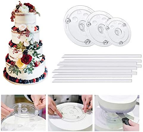 3 Tier Cake Separator Plates and Pillar Set for Tiered Wedding Birthday Cake Stand Cake Supplies product image