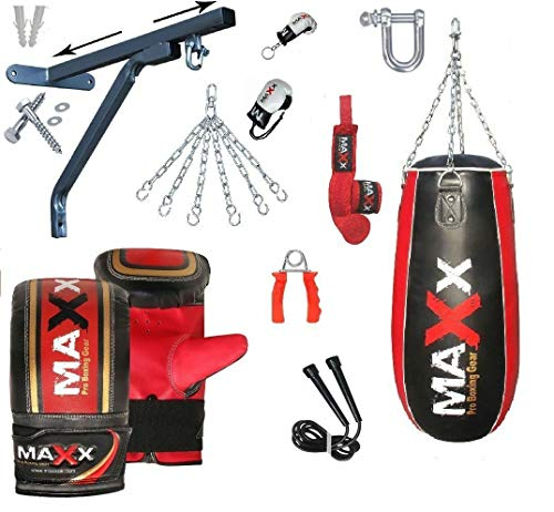 MAXX Black RED TEAR DROP BAGS SET Heavy Filled Punch Bag Boxing Set with wall bracket or Ceiling Hook FREE CHAIN Buy as Single PUNCHING BAG With Choice given BLACK RED BAG ONLY