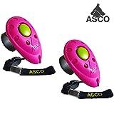 ASCO 2X Clicker Premium, clicker da Dito per clicker Training, clicker Professionale per Cani, Gatti e Cavalli, clicker per addestramento Cani, 2 Pezzi, Rosso AC08F2X