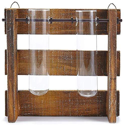 HEITMANN DECO Vase mit Reagenzglas - Reagenzglashalter aus Holz und 2 Reagenzgläser - Reagenzglasständer, Dekoration, Blumenvase