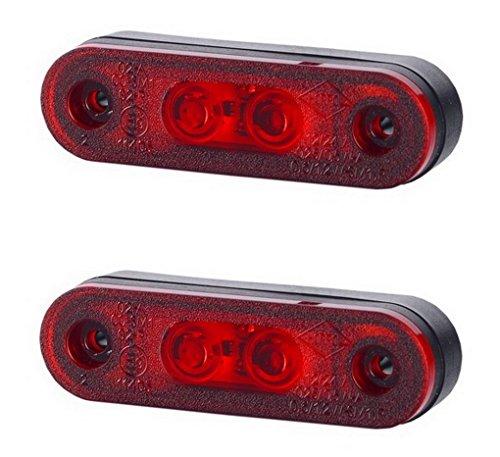 Lot de 2 feux de position latéraux arrière à LED rouge avec base en caoutchouc 12 V 24 V marquage E pour voiture, camion, remorque, camping-car, caravane, van