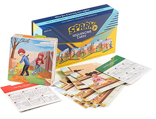Spark Cards Jr Basic Sequence Cards for Storytelling and Picture Interpretation Speech Therapy Game Special Education Materials Sentence Building Problem Solving Improve Language Skills