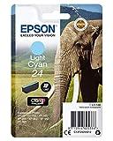 Epson C13T24224010 RS Claria Photo HD 24/Elefante - Cartucho de tinta, color cian cloaro, Ya disponible en Amazon Dash Replenishment, Cian Claro