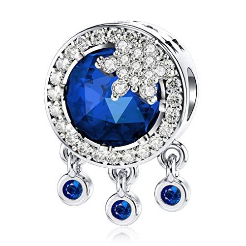 JIAYIQI - Ciondolo a forma di acchiappasogni con cristalli, compatibile con braccialetti Pandora, in argento Sterling 925, idea regalo per donne e Argento, colore: Zaffiro blu, cod. 45FWQ845092DUT