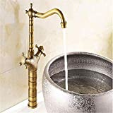 Grifos de cocina Latón Cromado Acero inoxidable vintage Acabado en bronce antiguo Grifo de latón giratorio de 360 grados Grifo de lavabo de baño Mezclador Grifos de baño Grifo para baño