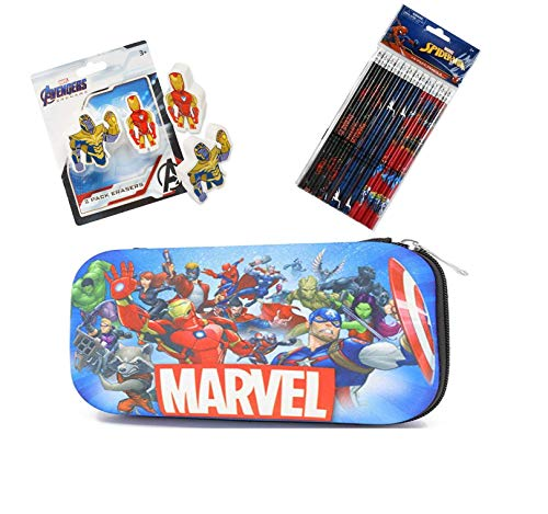 Marvel Avengers Stationery Set - Hard Shell Molded Case With 12 Wood Pencils and Erasers