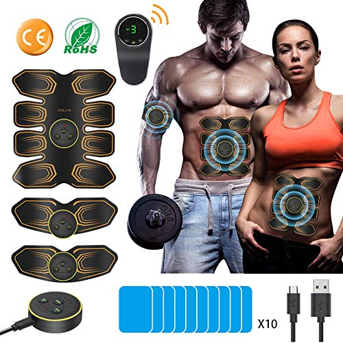 ABS Stimulator, ANLAN EMS Abdominal Toning Belt Muscle Toner 8 Pack with LCD Remote Control Abs Trainer USB Rechargeable for Abdomen Arm Leg Men Women