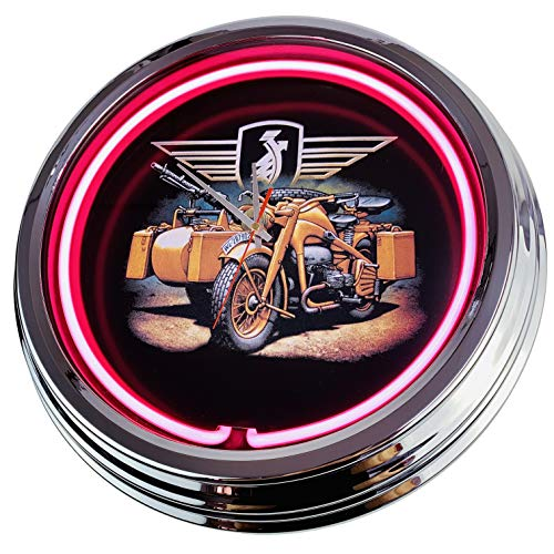 Orologio al neon Wyoming Air Service Inc. Orologio da parete decorativo, stile anni '50, stile retrò al neon, per sala da pranzo, cucina, soggiorno, ufficio, rosa., ca.44cm