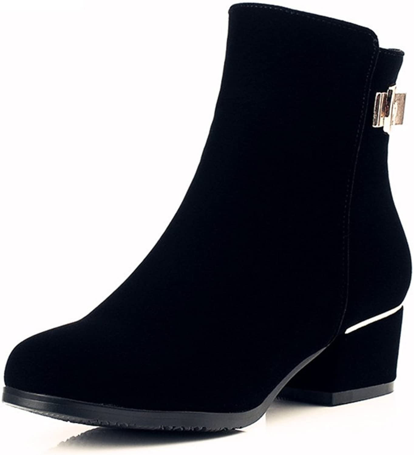 RHFDVGDS round head short boots Thicken Martin boots side zipper short boots Spring and fall fashion and velvet boots
