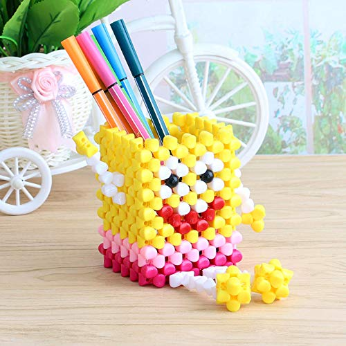 xxkj DIY Perlenstift, handgefertigt, Schmuck, Solid Beads Spongebob Schwammkopf Bleistift Rose Rot, 10x7.5x7.5CM
