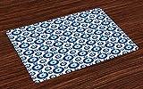 ABAKUHAUS Böses Auge Platzmatten, Symmetrisches Muster Alle sehende Augenfiguren Abergläubische türkische Ethnie, Tiscjdeco aus Farbfesten Stoff für das Esszimmer & Küch, Hellblau Weiß Blau