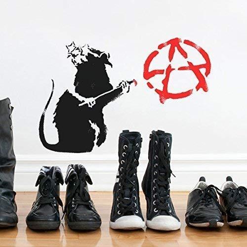 Banksy Anarchie Ratte Schablone | Wiederverwendbar Startseite-Wand-Dekor Schablone | Graffiti Banksy Stil Kunst Schablone | Wandfarbe Stoffe & Möbel - halb transparent Schablone, XS/ 11X17CM