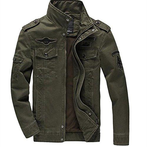 Minetom Uomo Primavera Autunno Inverno Militare Antivento Zipper Cappotto del Collare Parka Giacca Pilot Giacca Army Green IT 56