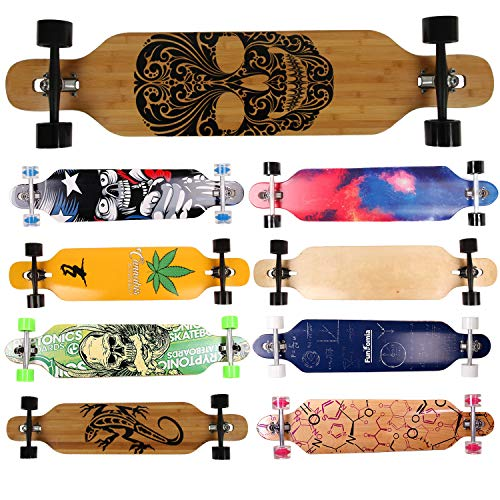 FunTomia Camber Longboard Skateboard Drop Through Cruiser Komplettboard mit Mach1 High Speed Kugellager T-Tool