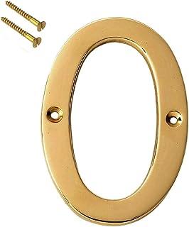 "eSplanade 4"" Brass House Hotel Door Number Plaque Sticky Numeric Numerical Digit 0-9 (0(Zero))"
