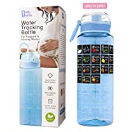 BellyBottle Pregnancy Water Bottle BPA-Free, Intake Tracker, Weekly Milestone Stickers - Pregnancy Gifts for First time Moms Must Haves Essentials (Blue)