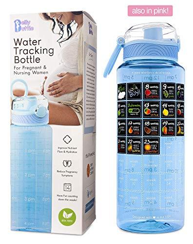 BellyBottle Pregnancy Water Bottle BPA-Free, Intake Tracker, Weekly Milestone...