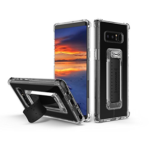Scooch Wingman | Kickstand Case for Samsung Galaxy Note 8 [10 ft Drop Protection] [Two-Way Stand] Shockproof Protective Cover & Compatible with Magnetic Car Mounts 6.3 Inch (Clear)