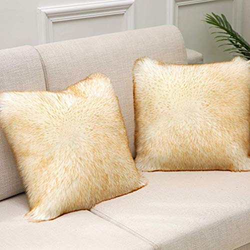 Soft Faux Fur Cushion Cover for Bed, Sofa, LoungeThrow Pillow Covers Home Decorative Square Cushion Cover, Pack of 2, 45 x 45cm / 18 x 18inch
