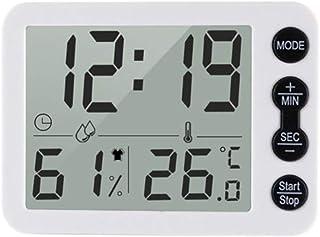 TZOU 9.2 * 6.7 * 1.2cm Smart Thermometer Temperature Humidity Monitor Clock Alarm Timer C/F Indoor LCD Screen Hygrometer W...