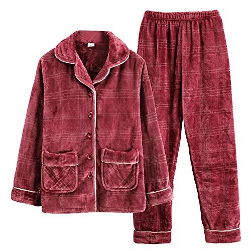 DFDLNL Trajes de Pijama a Cuadros para Mujer, Franela de Invierno, Manga Larga, Engrosamiento, más Terciopelo, Lana de Coral, otoño e Invierno, hogar XL