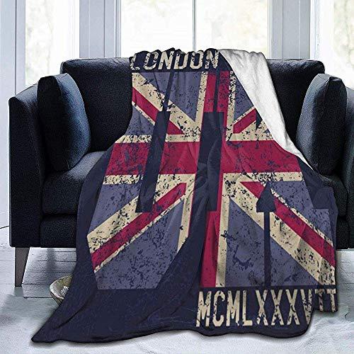 Tonesum Fleece Manta,Mantas De Cama,Cubierta De Cama,Manta De Franela,Lana De Coral,Cubrecamas,Tipografía Vintage London Couch Sofa Blanket,Flannel Fleece Quilt 102X127CM