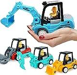 Supreme Deals® Pull Back Construction Vehicles Set of 4 Truck Set Excavator, Bulldozer, Road...