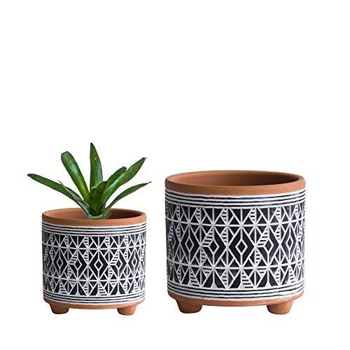 Set of 2 Planter Pots, 4.4 Inch & 6.4 Inch, Diamond Pattern Ceramic Plants Pot with Drainage Hole, Terracotta/Black