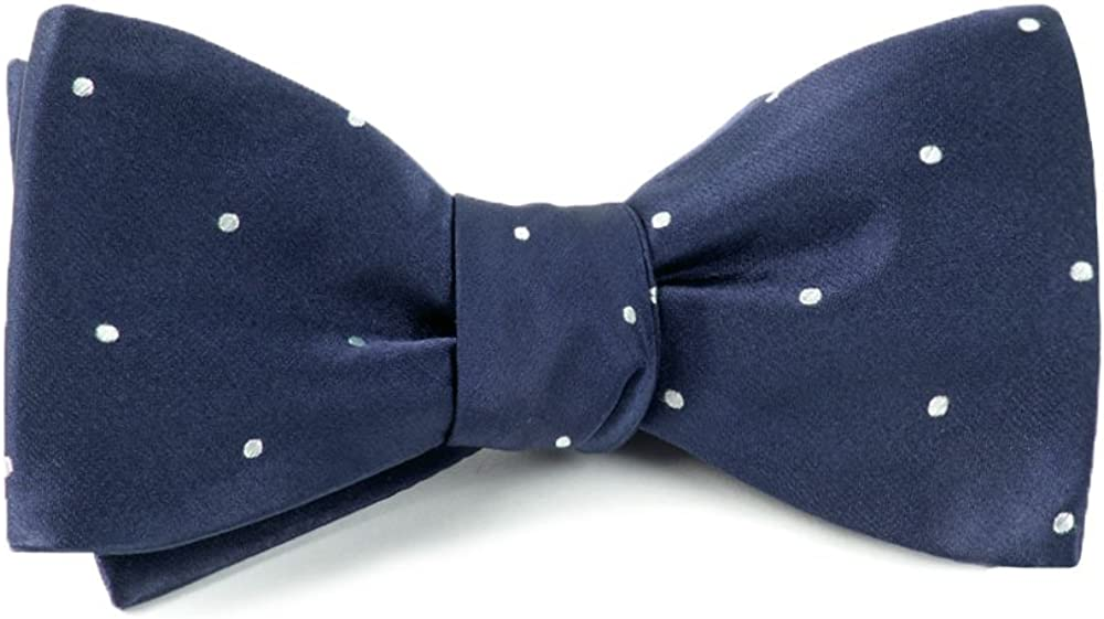 The Tie Bar 100% Woven Silk Navy and White Satin Dot Self-Tie Bow Tie