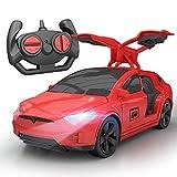 Inalámbrica de Tesla eléctrico niños de coches de juguete de control remoto que compite con la deriva de la puerta abierta 2.4G RC coche de deportes del modelo de choque del truco vehículo juguete de