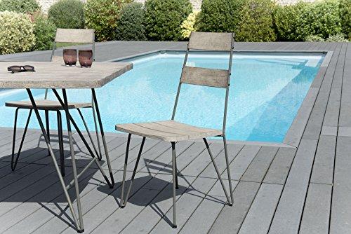 MACABANE 509002 Set de 2 Chaise, Gris, 67 x 104 x 48 cm, Lot de 2 chaises SCANDI bois et métal