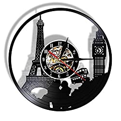 BESI Big Ben Tower Laser Cut Wall Clock Travel Landmark Light Vinyl Record Watch Vintage Design Saat