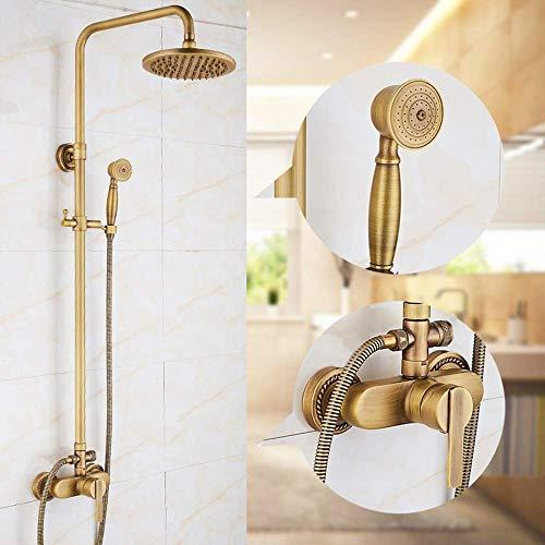 CLJ-LJ Antiguo cobre ducha conjunto europeo retro presurizado ducha grifo montado en la pared ducha mano ducha fija