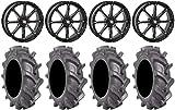 Bundle - 9 Items: STI HD4 20' Wheels Black 33' BKT AT 171 Tires [4x137 Bolt Pattern 12mmx1.5 Lug Kit]