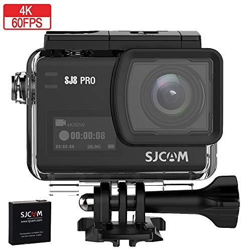 Sjcam sj8 Pro cámara Deportiva 4k nativa 60fps 30m Pantalla táctil OLED, Action cámara acuática con batería y Cargador Externo, 170º Gran Angular, gyroscopio de 6 Ejes (Zoom Digital x8).
