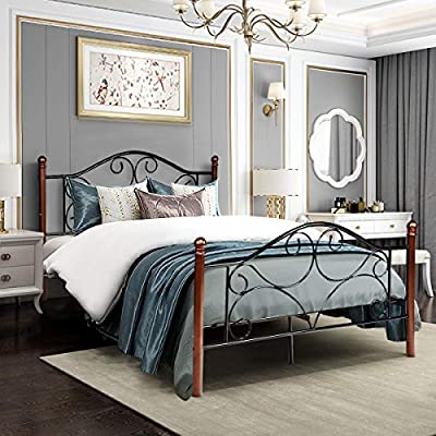 Giantex Platform Bed Frame 9-Leg Support Mattress Foundation Metal Base Home Bedroom Furniture with Sturdy Metal Slats and Vintage Headboard and Footboard