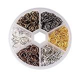 PandaHall Caja 1 6 Colores 10mm Latón Anillos del Salto Abierto sin soldar Alambre 18 Calibre fornituras de bisutería, 70 gramo