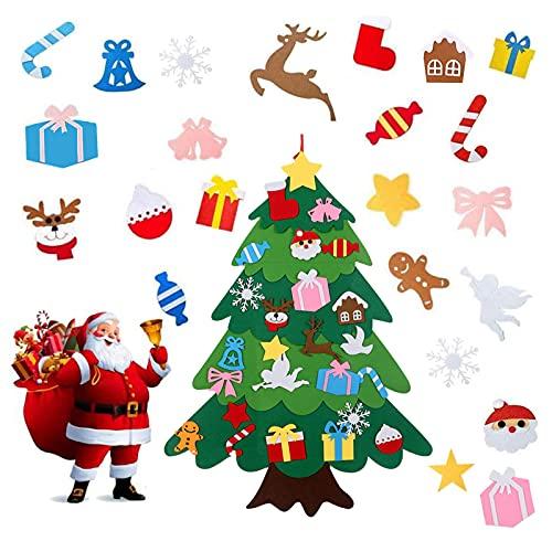 Árbol De Navidad De Fieltro,100*75cm DIY Árbol De Navidad En Fieltro con 25 Ornamentos Desmontables Año Nuevo Navidad Regalo para Niños Decoración navideña Adecuada para Paredes y Puertas de casa.