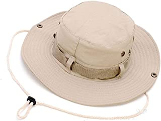 Flyme Summer Cotton Sunscreen Packable Breathable Boonie Hat for Jungle Fishing Outdoor Leisure Mountaineer Rope Adjustalbe Cowboy Round Brim Cap Unisex Beige