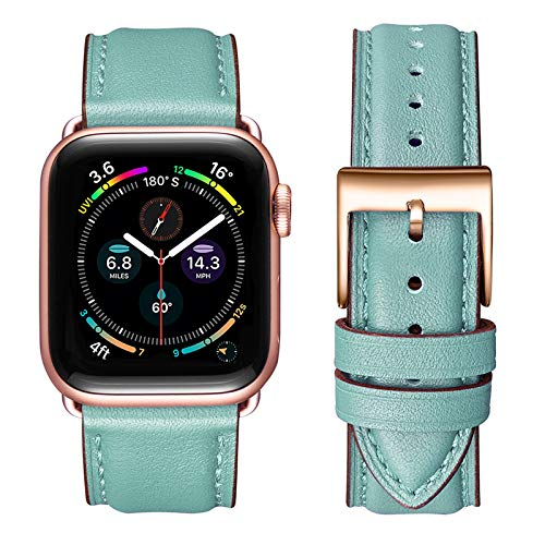 OMIU Square Bands Compatible for Apple Watch 38mm 40mm 42mm 44mm, Genuine Leather Replacement Band Compatible with Apple Watch Series 6/5/4/3/2/1, iWatch SE(Tiffany Blue/Rose Gold,38mm 40mm)