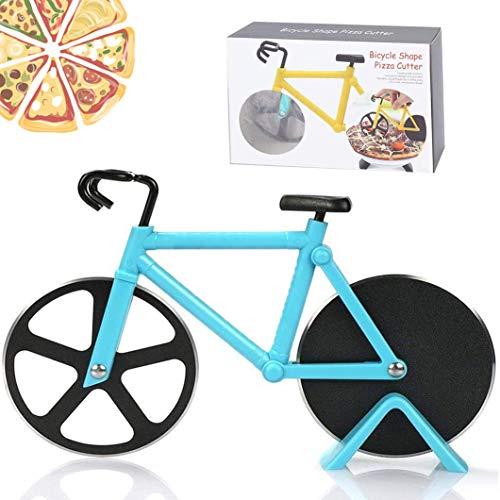 SHASHA Fahrrad Pizzaschneider Schneidräder aus Edelstahl Lustige Pizzaroller Cutter Pizza Cutter mit Scharfem Schneiderad & Ständer aus Antihaftbeschichtetem für Weihnachten Party Geschenke (Blau)