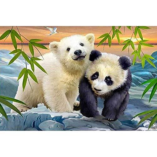 Pintura Diamante 5d Panda Oso Polar Cubo De Rubik Diamante Pintura Decoración Del Hogar 30x20cm Diamante redondo