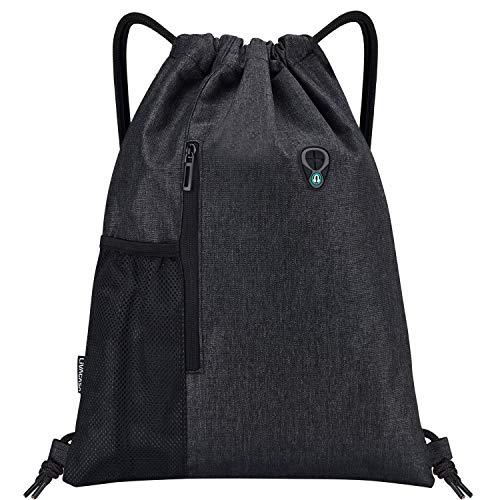 LIVACASA Mochilas de Cuerdas Mujer Hombre Toma USB para Auriculares con Bolsillos Mallas para Botellas Tela Oxford Bolsa de Cuerdas Mochilas Impermeables para Yoga Gimnasio Deportes Negro-Negro