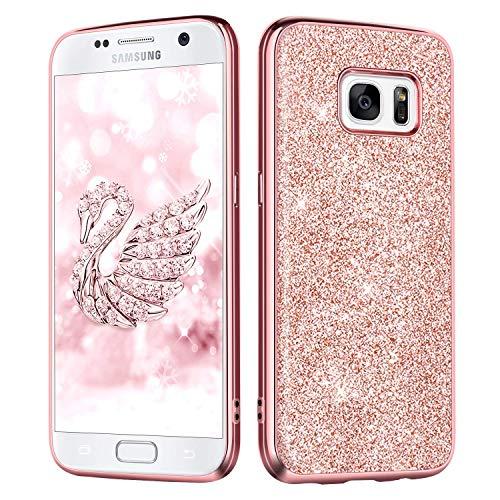 DUEDUE Samsung S7 Hülle, Galaxy S7 Hülle Samsung Galaxy S7 Hülle Glitzer Schutzhülle stoßfest Hybrid PC Schale TPU Cover Glitzer Handyhülle für Samsung Galaxy S7 Rosegold