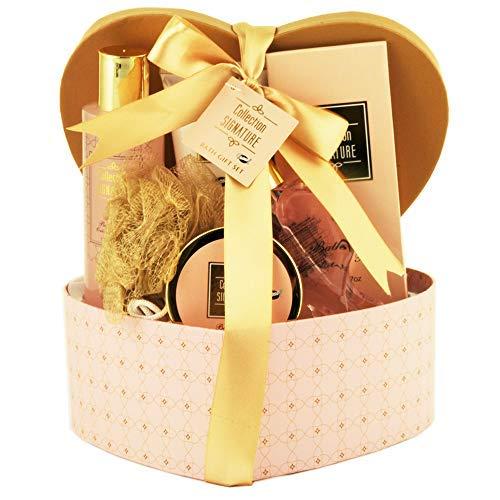 Gloss! Coffret Cadeau de Bain Boîte Cœur Rose Parfum Karité/Vanille/Menthe Citronnée 6 Pièces corail