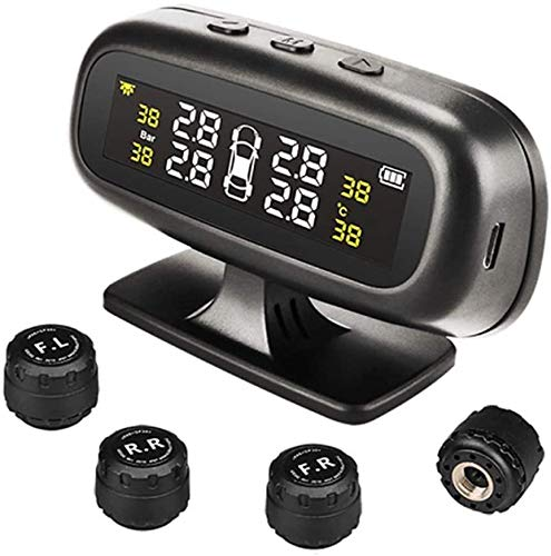 ZOUSHUAIDEDIAN Sistema de monitoreo de presión de neumáticos, energía inalámbrica de energía solar con 4 sensores externos, presión de alarma en tiempo real y pantalla LCD de temperatura, operación si