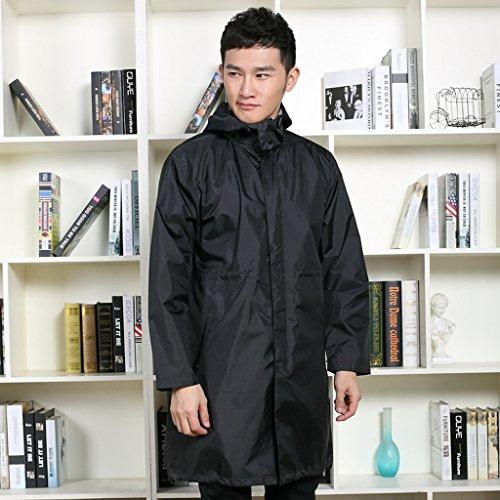Vestes anti-pluie QFF Outdoor Male Raincoat Trend imperméable Coupe-Vent pour Adultes Longue Section à Pied Poncho de Mode léger et Mince (Couleur : Noir, Taille : XL)