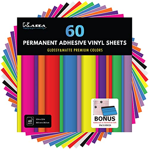 Kassa Permanente Vinyl-Folien, 60 Stück, 30,5 x 30,5 cm, inklusive Rakel, verschiedene Farben (matt und glänzend) – selbstklebendes Vinyl für Schneidemaschinen